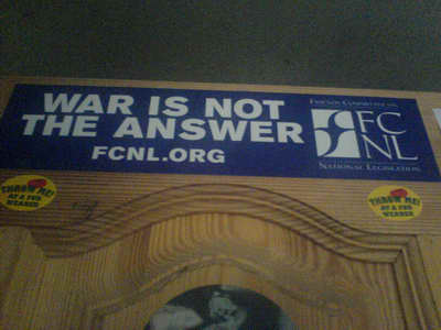 FCNL: наклейка War Is Not The Answer